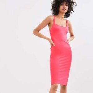 Zara neon / flamingo pink midi bodycon tank dress